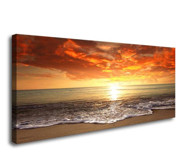 Sunset Ocean Beach Immagini Photo Paintings Stampe su tela Wall Art Paesaggio marino Onde Paesaggio Pronto da appendere Drop shipping