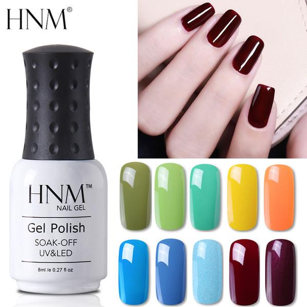 Hnm Pure Color Blue Green Yellow Red Uv Gel Nail Polish Need Uv Lamp Base Top Varnish Soak Off Semi Permanent Gel Lacquer 8ml Pastel Nail Polish