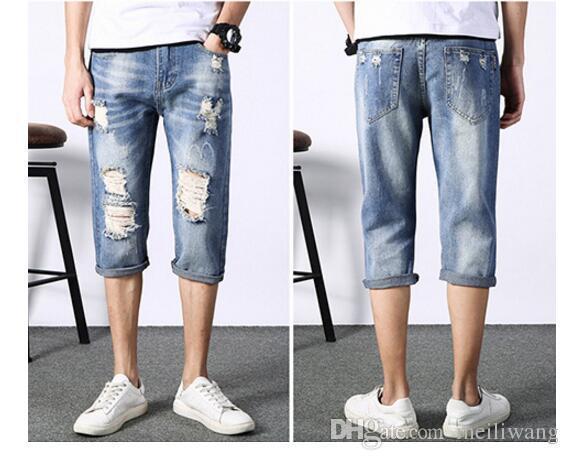 Jeans des neuen Sommers der Männer Jeans geerntete Hosenmänner gewaschenes Loch des Lochs keucht beiläufige pstyles