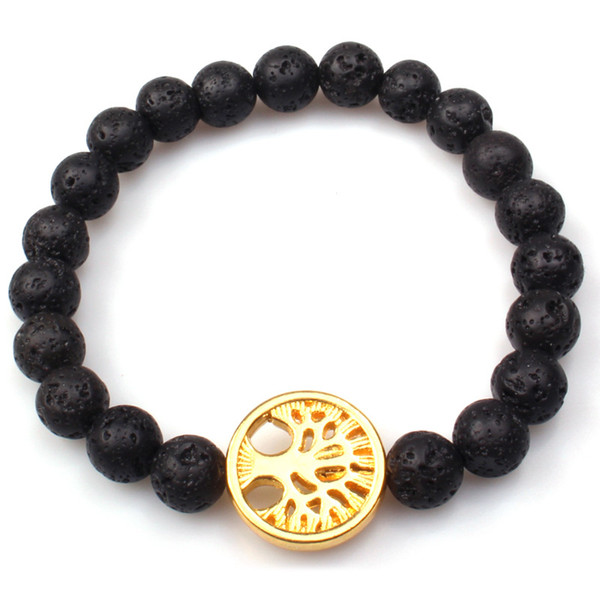 Tree of Life 8MM Black Lava Stone Beads Bracelet Volcano DIY Essential Oil Diffuser Bracelet Wristband Jewelry