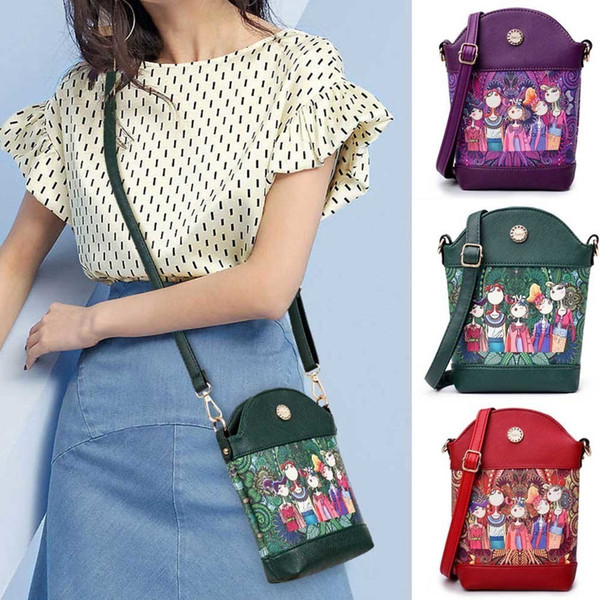 Hot Brand Shoulder Bags Women High Quality Pu Leather Shoulder Bags Ladies Designer Cartoon Printing Purse Fa1