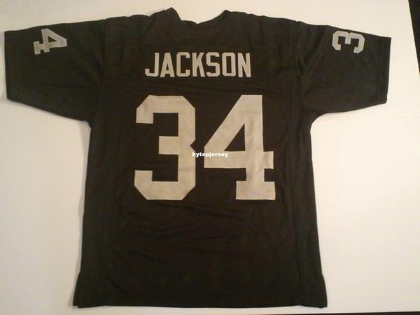 Дешевые ретро обычай сшитые сшитые #34 Бо Джексон черный Митчелл Несс Джерси мужские футбольные майки колледж NCAA