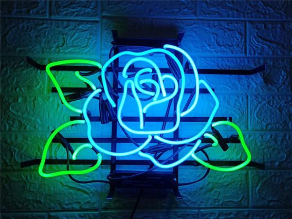 New Star Enseigne Au Néon 17X14 Pouces En Verre Vraie Lumière Pour Bar À Bières Pub Garage Chambre Blue Rose.