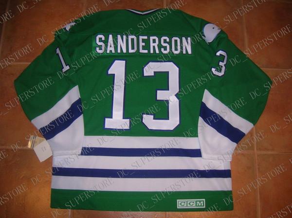 Coutume pas cher # 13 Geoff SANDERSON Hartford WHALERS chandail CCM VINTAGE Jersey personnalisé