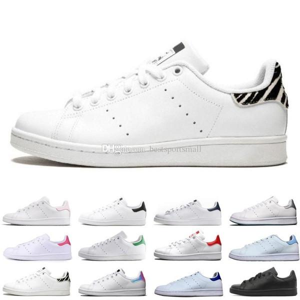 2019 Yeni Tasarımcı Smith Ayakkabı Flats Kadınlar Erkek Deri Ayakkabı Zebra Çiçek Üçlü Beyaz Siyah Stan Kaykay Spor Spor ayakkabılar 36-45