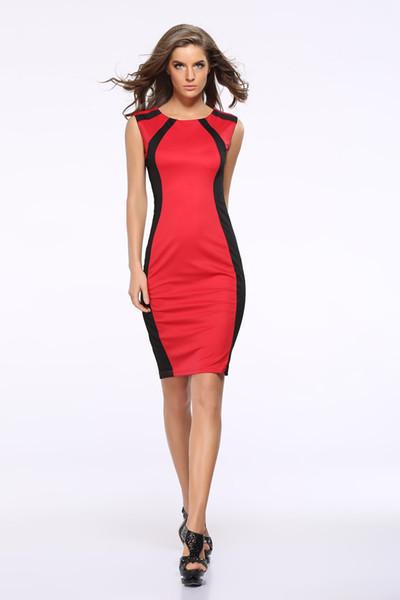 Mode été sexy femmes robe maigre sans manches casual mini club robes rouge vert plus la taille s-3xl