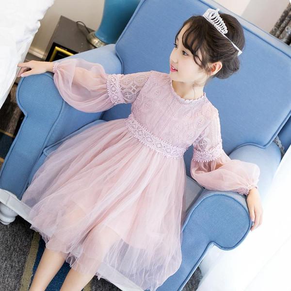 Marca 2018 del vestido de lujo del cordón de las muchachas del otoño niños del vestido de la princesa formal Kid vestidos de verano del bebé lindo para el niño hermoso
