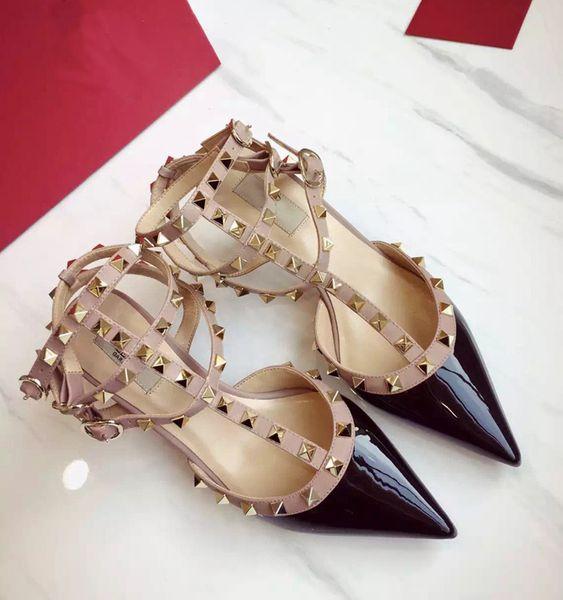 Jolly2019 Патент Xiamaoding 17 Fine с острыми босоножками на высоком каблуке с одной обуви из натуральной кожи с плоским дном Женская обувь