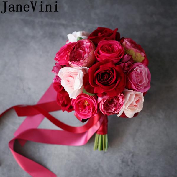 Bouquet Sposa Fucsia.Acquista Janevini Bouquet Da Sposa Rosa Rosso Damigelle D