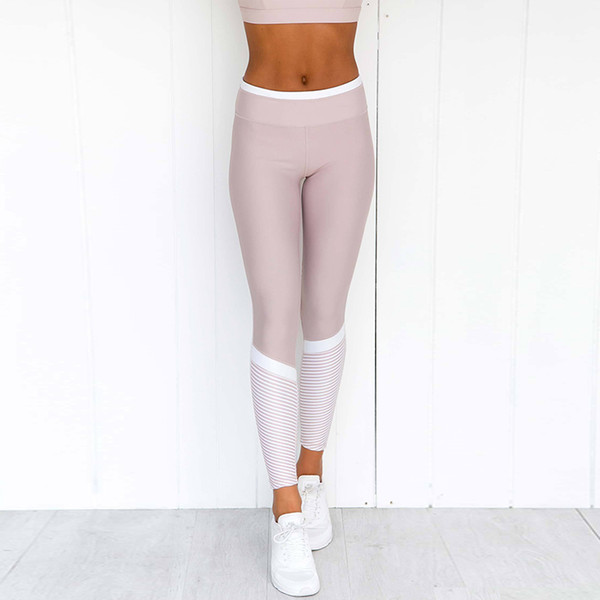 Slim Women Fitness Leggins Casual Workout Pink Butt Lifting Pants White Striped Leggings Activewear Yogaing Gyms Booty Capri