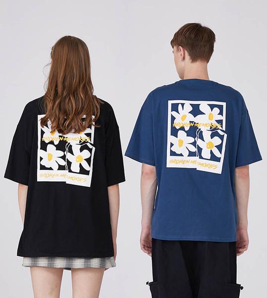 Printemps O cou à manches longues hommes T-shirt taille M - XL loose Couples en coton T-shirt imprimé floral hip-hop T-shirts Amant