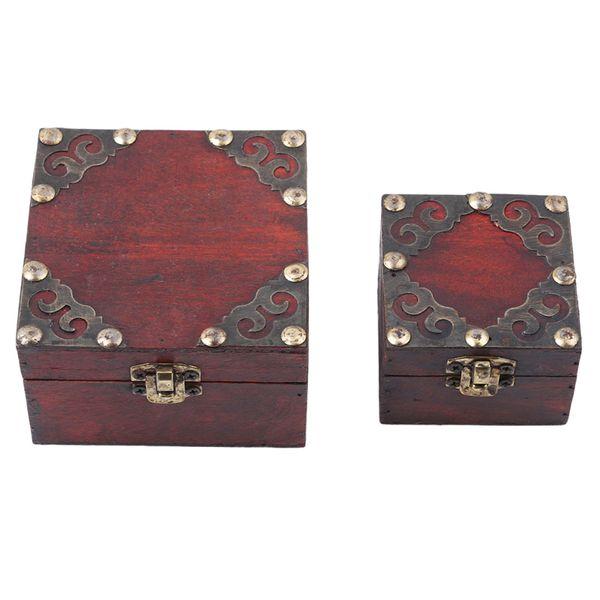 2 шт./компл. стильный старинные металлический замок декоративные брелок коробка для хранения ювелирных изделий классический деревянный футляр для хранения сокровищ организатор