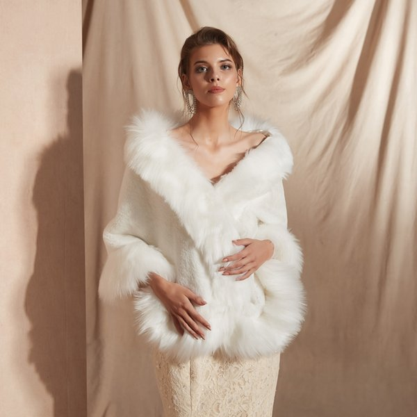 CMS18111 For Weddings and Events Women Luxury Bridal Faux Fur Shawl Wraps Cloak Coat Sweater Cape Women Shawl For Special Occasion