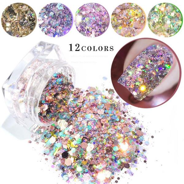 12 Cores1 Caixa de Bling Glitter Poeira Em Pó Nail Art Lantejoula 3D Rainbow Clear Hexagon Fatia DIY Charme Nail Art Decoração Manicure