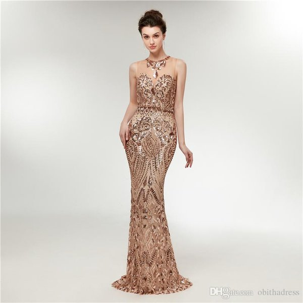 Luxurious Sparkling Prom Dresses round neck perspective sequins mermaid evening dresses party dresses stage performance clothing