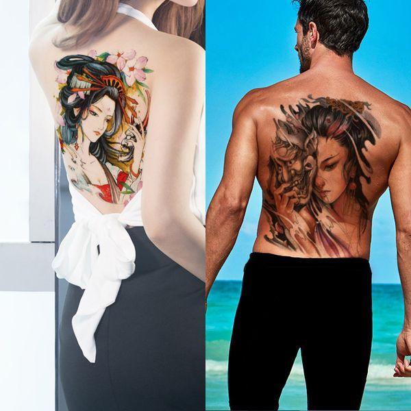 Beauty Woman Large Temeporary Tattoo Skull Devil Sakura Body Art Sticker Full Back Chest Colored Drawing Big Tattoo Design Fashion Summer 3D