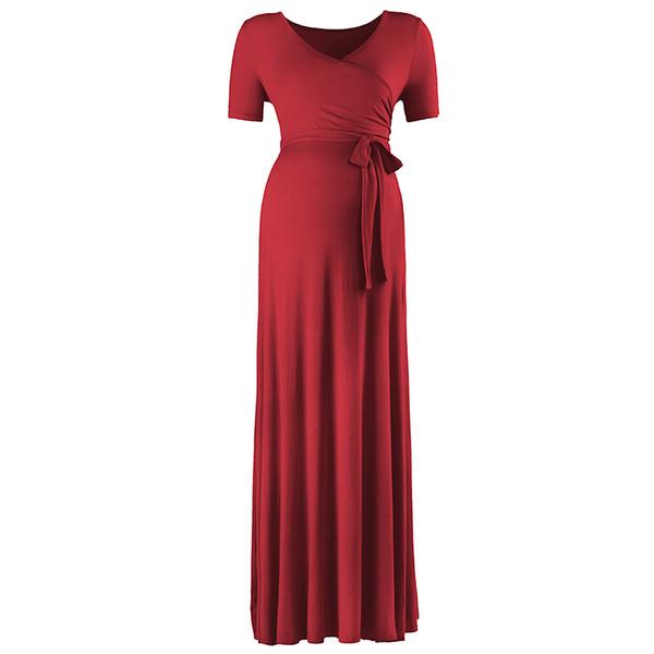 Maternity Dress Recycled Fiber Solid Color Long Skirt Belt Adjustable Draped V-neck Leisure Short Aleeve Wave Point 50