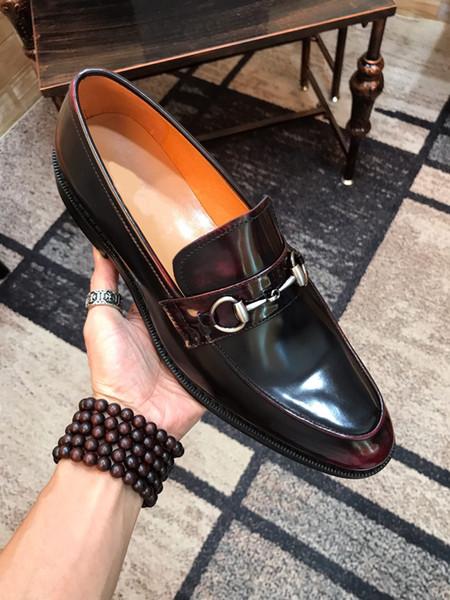 Mode 2019 Männer formale Partei Geschäft echtes Leder Kleid Schuhe lässig Müßiggänger Marke atmungsaktiv Hochzeit Wohnungen Zapatos Hombre Größe 38-45