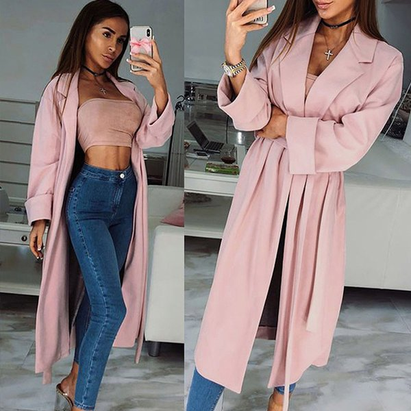2018 Women's Sexy Winter Trench Coats Autumn Female Fashion Overcoats Ladies Sashes Turn-down Collar Long Thin Slim Fit Outwears