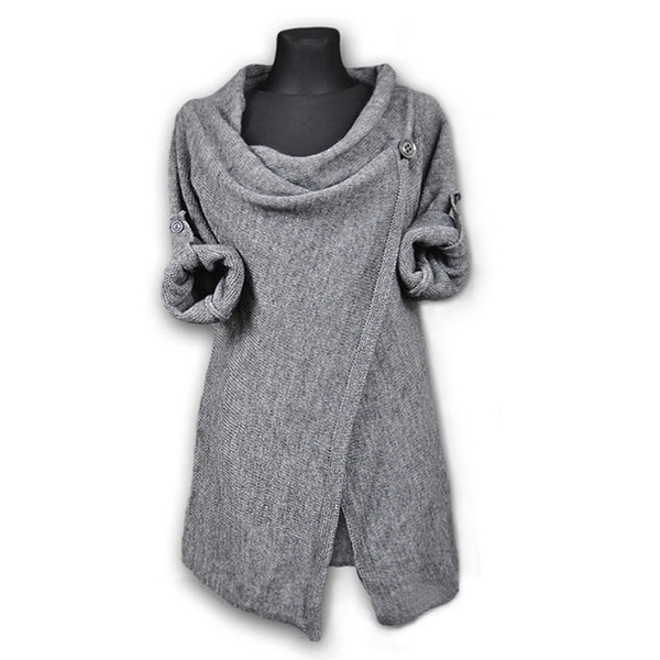 Donna Autunmn Winter Solid Maglia manica lunga irregolare Top Casual Sweater Coat