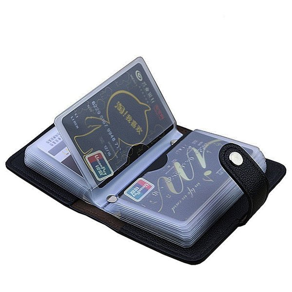 Fashion Pu Leather 24 Bits Card Case Business Card Holder Men Women Credit Passport Card Bag Id Passport Wallet