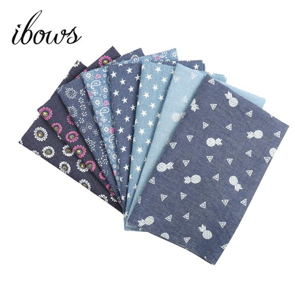 40CM*50CM Soft Denim Cotton Fabric With Pineapple Flower Sewing Quilt Fabric Cowboy Handmade Bags Deraction Materials