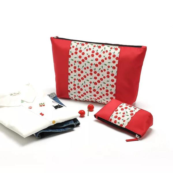 Cherry cosmetic bag Hot sale beautiful lady cherry printing cosmetic Travel bag set fashion red fruit pattern Women makeup bag