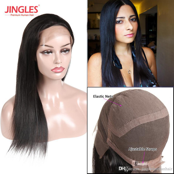 9A Jingleshair 100 Raw Indian Human hair wigs Pre Plucked Virgin Remy Hair full swiss lace caps Natural black Straight double weft weave