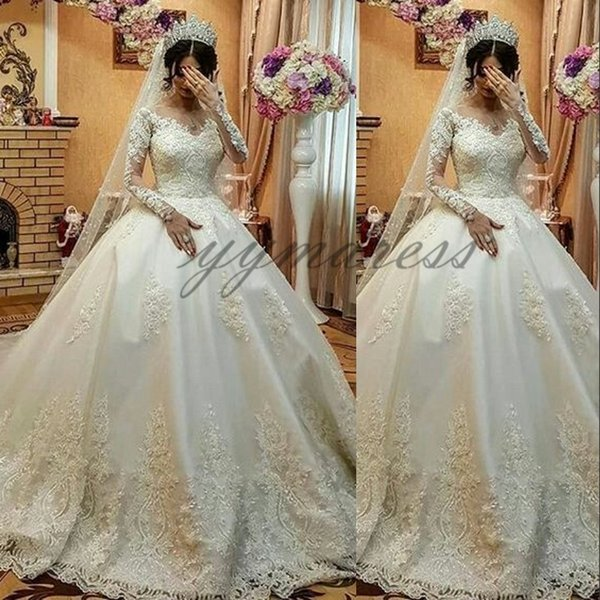 2019 Hot Sale Plus Size Wedding Dresses Long Sleeve Applique Lace Sweetheart Puffy Ball Gown Bridal Dress Robe De Mariee