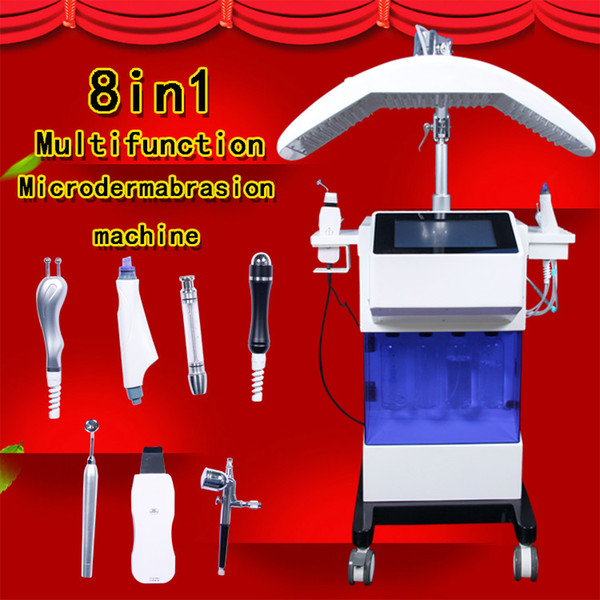 2019 new arrival water hydrafacial dermabrasion skin deep cleansing led pdt oxygen jet skin scrubber bio face lift ultrasonic