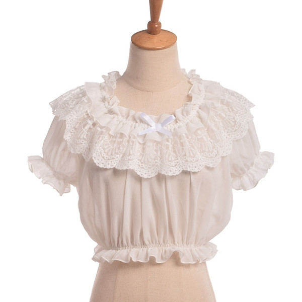 Women Crop Top Blouse Lolita Frilly Chiffon White/black Puff Sleeve Lace Bottoming Undershirt Y19070101