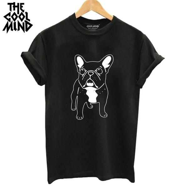 algodón COOLMIND DO0105B impresión francés mujeres de la camiseta del perro camiseta de impresión ocasional de las mujeres del verano de los tops de la camiseta