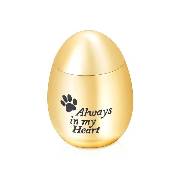 stainless steel egg shape cremation urn paw print always in my heart keepsake memorial pet/human funeral urn - custom engraving