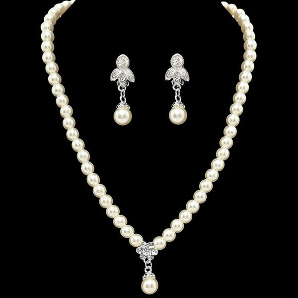 2019 Romantic Pearl Designer With Crystal Cheapest Two Pieces Set Jewerly Earrings Necklace Rhinestone Bridal Sets Jewelry