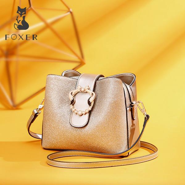 48b2f7fbd318 FOXER Бренд Женские Стильные Сумки на Плечо Большой Емкости Новые Шикарные  Женщины Ведро сумка Глянцевая Мода