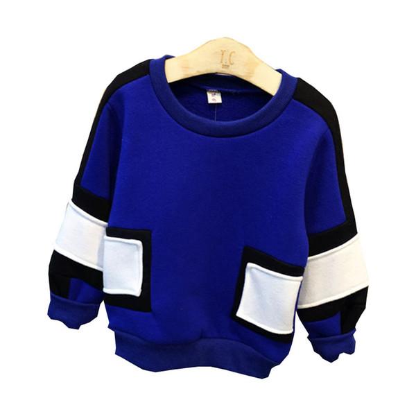 2016 camisolas das crianças nova moda inverno meninos do bebê de manga comprida costura grosso pulôver top crianças roupas de algodão 2-7 anos