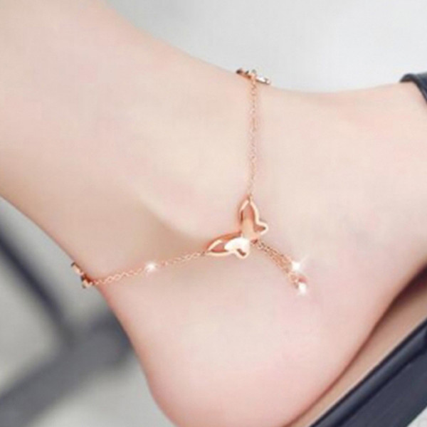 Butterfly Pendant Anklets Foot Chain Summer Yoga Beach Leg Bracelet Handmade Anklet Summer Beach Foot Jewelry