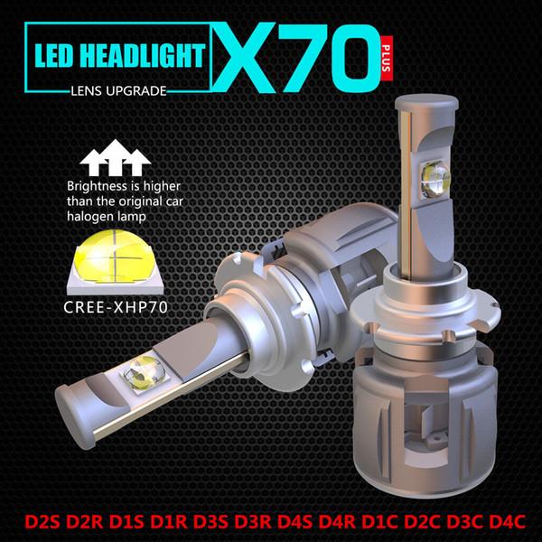 1 Kit puissant phare de voiture LED X70 120W 15600LM H7 CREE XHP70 puce 6000K ampoule de brouillard de conduite ampoules H4 H8 H11 9005/6 9012 D2S