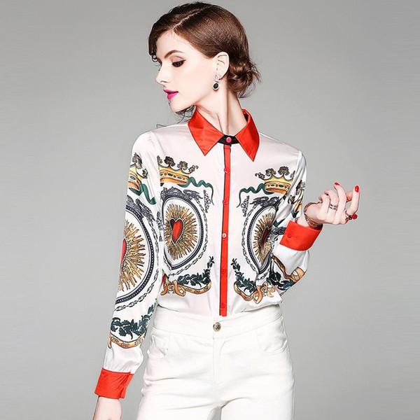 2019 Outono Novo Lazer De Fato Lazer Jacket Uma Coroa Impressão De Cetim Rosto Quadrado de Chumbo de Manga Longa Camisa Camisa Mulher