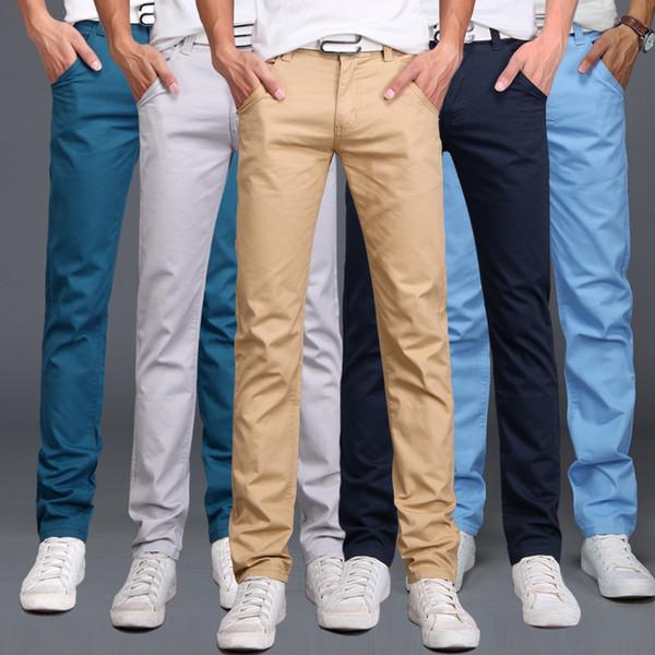 2019 Новая Коллекция Весна Лето Повседневная Одежда Брюки Мужчины Хлопок Slim Fit Чинос Модные Брюки Мужской Бренд Одежды Плюс Размер 9 Цвет