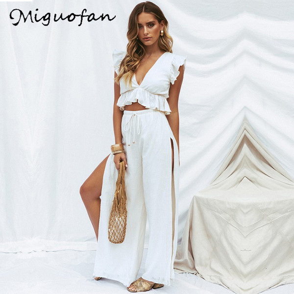 Miguofan Donna Due pezzi di abiti Set Moda Solido Sexy Profondità Scollo a V Top Split Elastico Pantaloni lunghi Set da donna Y19071301