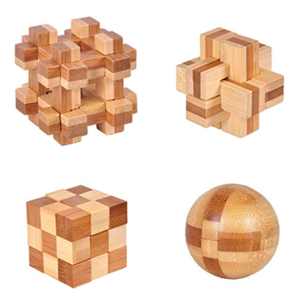 Wooden 3D Puzzle Toy IQ Brain Teaser Kong Ming Lock Kids Adult Educational Toy
