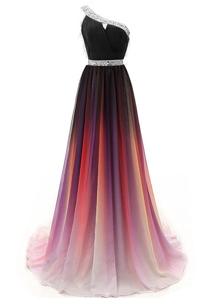 2019 Newest One Shoulder Beaded Gradient Chiffon Evening Dresses 2019 Sequins Prom Dress Plus Size Ombre Prom Long Party Gown AL82