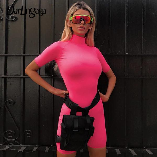 Darlingaga Casual Fluorescent pink skinny playsuit bodycon jumpsuit turtleneck Activewear bodysuit women short sleeve body suit