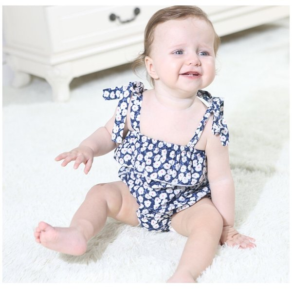 Flower Girls Rompers Outfits Newborn Baby Bodysuits One Piece Floral Belt Blackless Baby Girls Bodysuits Infant
