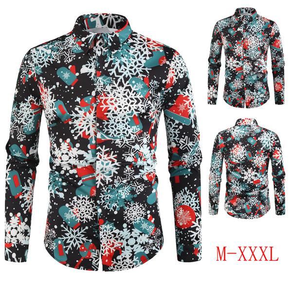 2019 new men's fashion casual shirt snowflake digital print long-sleeved shirt christmas collection