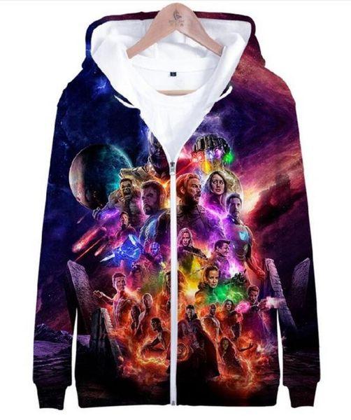 Çocuklar Streatwear Kazak Ceket 4 Endgame Kuantum Diyar 3D Baskılı Ceket Kazak Kız Erkek Kapüşonlu Fermuar Ceket