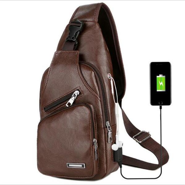 Men USB Chest Bag Sling bag Large Capacity Handbag Crossbody Bags leather Shoulder Bag Charger Messenger Bags Good Price