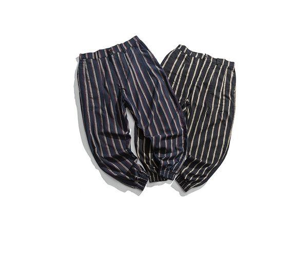 Mens Casual Striped Pants Spring Summer Full Length Fashion Pants Male Loose Striped Print Pants M-XXL