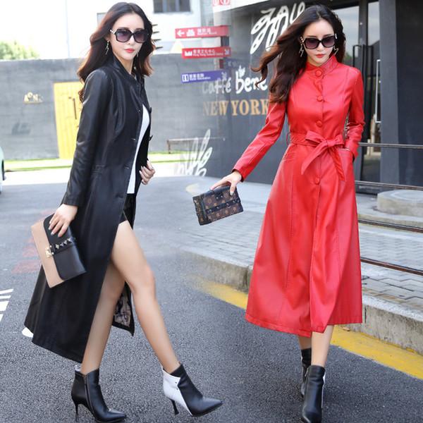 Femmes simili cuir veste automne hiver veste PU bouton vêtements ceinture coréenne élégante Slim Fit long manteau trench coupe-vent LJJA2548